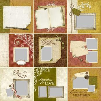Vintage Memories Predesigned Pages 12x12 Digital Art - Digital Scrapbooking Kits