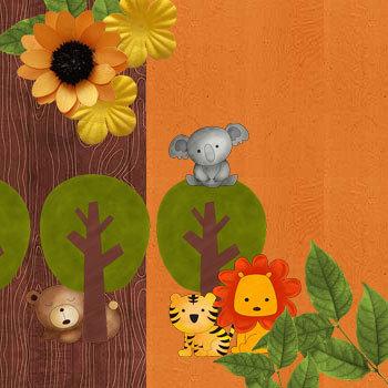 Cute Safari Kit Digital Art - Digital Scrapbooking Kits
