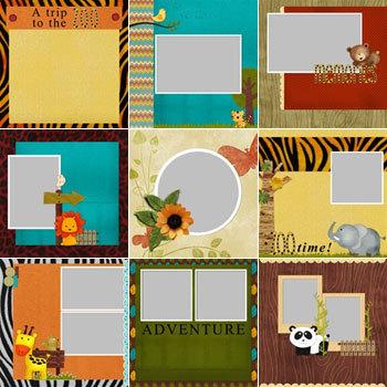Cute Safari Predesigned Pages 12x12 Digital Art - Digital Scrapbooking Kits