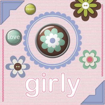 Modern Girl Kit Digital Art - Digital Scrapbooking Kits