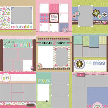 Modern Girl Predesigned Pages 12x12 Digital Art - Digital Scrapbooking Kits