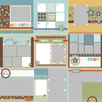Modern Boy Predesigned Pages 12x12 Digital Art - Digital Scrapbooking Kits