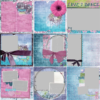 Just Dance Predesigned Pages 12x12 Digital Art - Digital Scrapbooking Kits