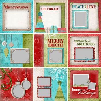 Happy Holidays Predesigned Pages 12x12 Digital Art - Digital Scrapbooking Kits