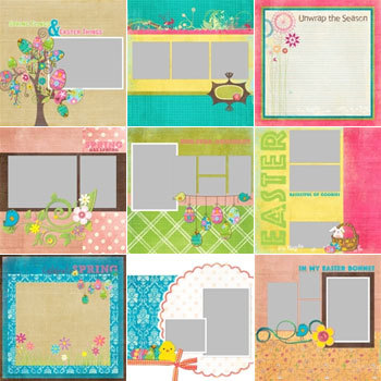 Easter Fun Predesigned Pages 12x12 Digital Art - Digital Scrapbooking Kits