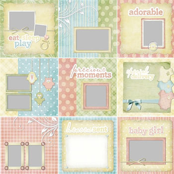Baby Birdies Predesigned Pages 12x12 Digital Art - Digital Scrapbooking Kits