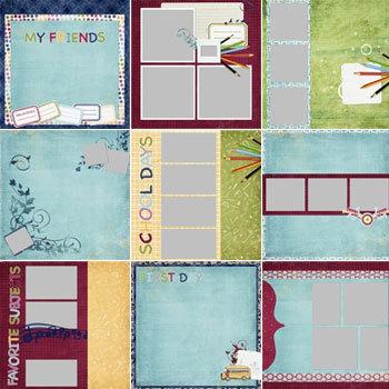 School Days Predesigned Pages 12x12 Digital Art - Digital Scrapbooking Kits