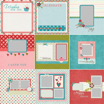 Wishful Predesigned Pages 12x12 Digital Art - Digital Scrapbooking Kits