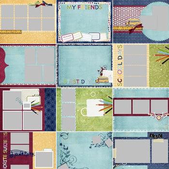 School Days Predesigned Pages 11x8.5 Digital Art - Digital Scrapbooking Kits