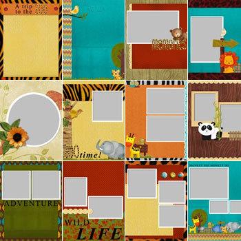 Cute Safari Predesigned Pages 8.5x11 Digital Art - Digital Scrapbooking Kits