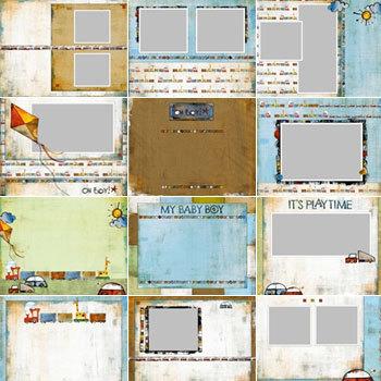 Oh Boy Predesigned Pages 11x8.5 Digital Art - Digital Scrapbooking Kits
