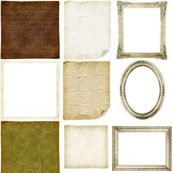 Vintage Memories Frames And Mats Digital Art - Digital Scrapbooking Kits