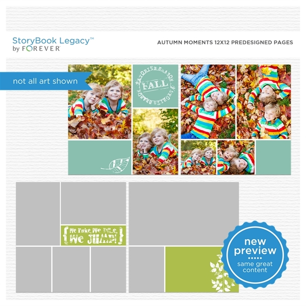 Autumn Moments 12x12 Predesigned Pages Digital Art - Digital Scrapbooking Kits