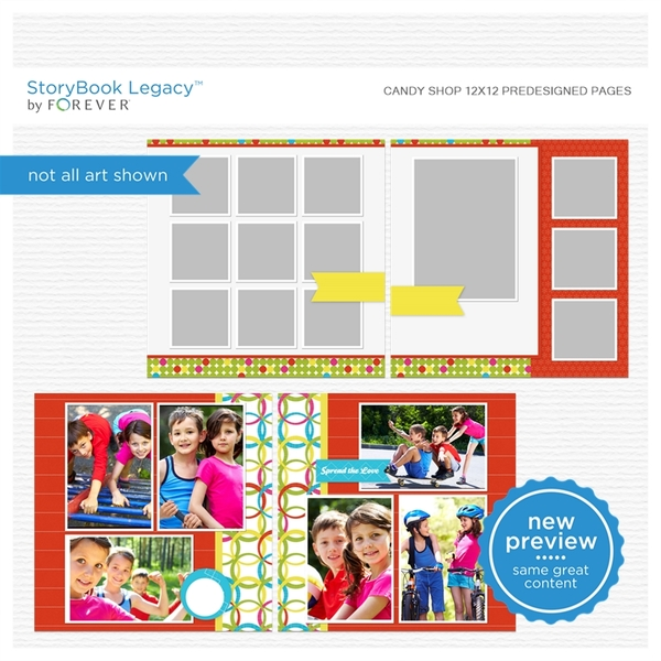 Candy Shop 12x12 Digital Predesigned Pages Digital Art - Digital Scrapbooking Kits