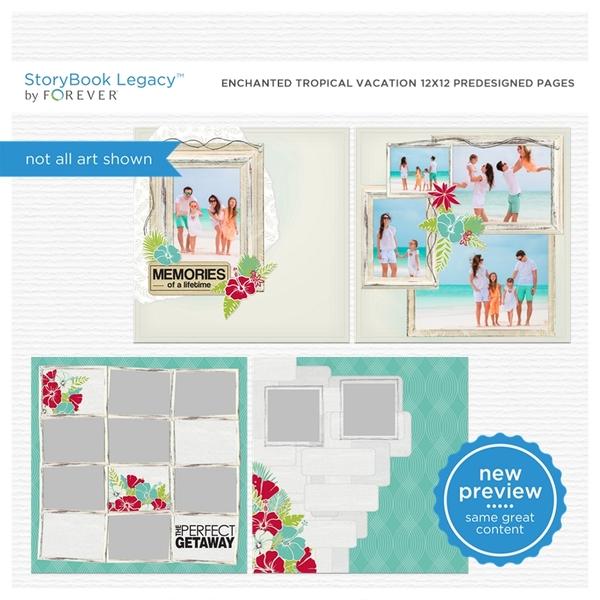 Enchanted Tropical Vacation 12x12 Predesigned Pages Digital Art - Digital Scrapbooking Kits