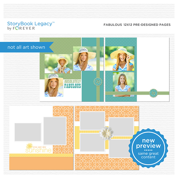 Fabulous 12x12 Predesigned Pages Digital Art - Digital Scrapbooking Kits