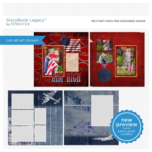 Military 12x12 Predesigned Pages Digital Art - Digital Scrapbooking Kits