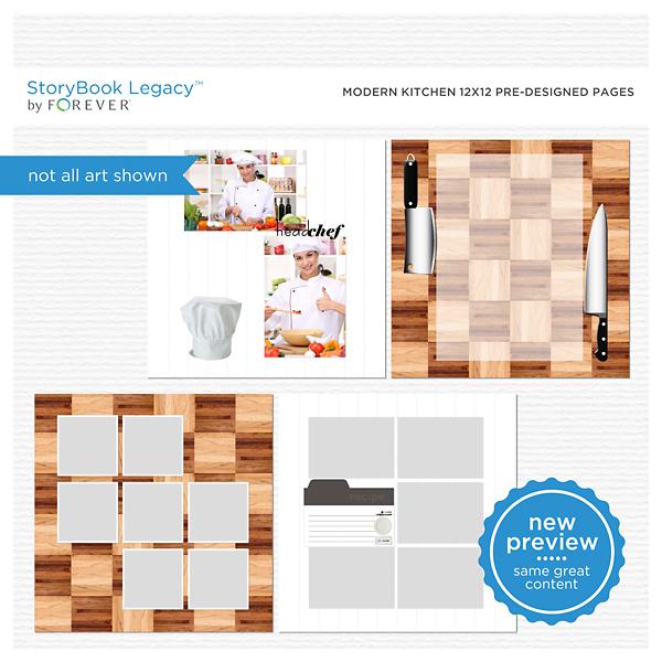 Modern Kitchen 12x12 Predesigned Pages Digital Art - Digital Scrapbooking Kits