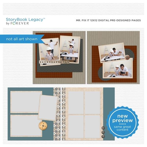 Mr. Fix It 12x12 Digital Predesigned Pages Digital Art - Digital Scrapbooking Kits