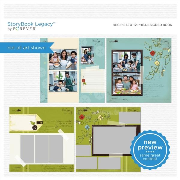 Recipe 12x12 Predesigned Book Digital Art - Digital Scrapbooking Kits