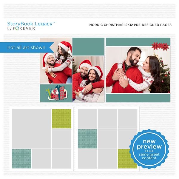 Nordic Christmas 12x12 Predesigned Pages Digital Art - Digital Scrapbooking Kits