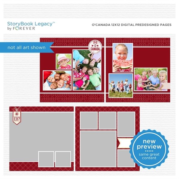 O' Canada 12x12 Digital Predesigned Pages Digital Art - Digital Scrapbooking Kits