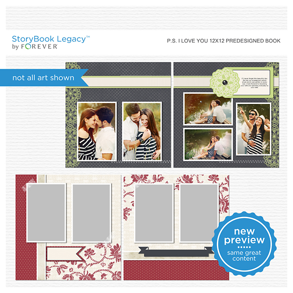 P.S. I Love You 12x12 Predesigned Pages Digital Art - Digital Scrapbooking Kits