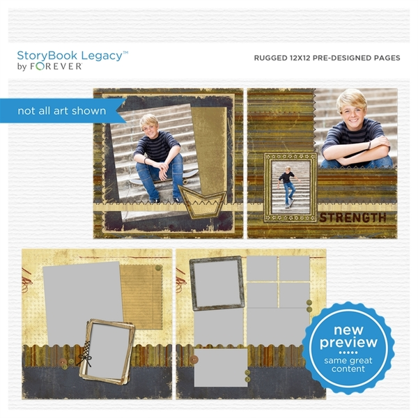 Rugged 12x12 Predesigned Pages Digital Art - Digital Scrapbooking Kits