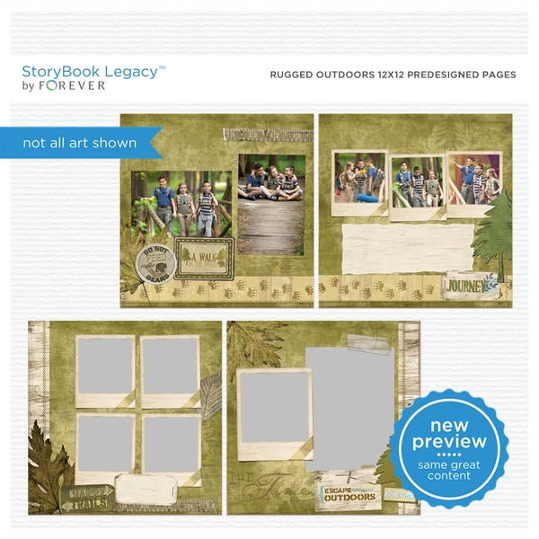 Rugged Outdoors 12x12 Predesigned Pages Digital Art - Digital Scrapbooking Kits