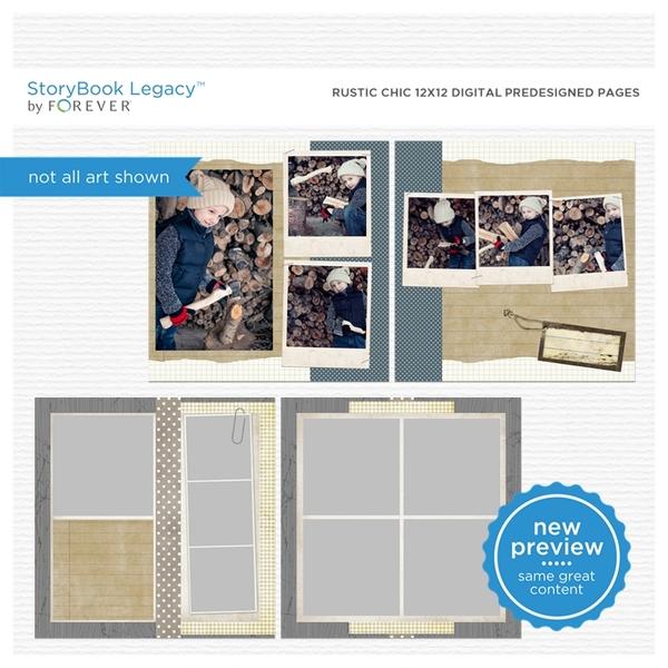 Rustic Chic 12x12 Digital Predesigned Pages Digital Art - Digital Scrapbooking Kits
