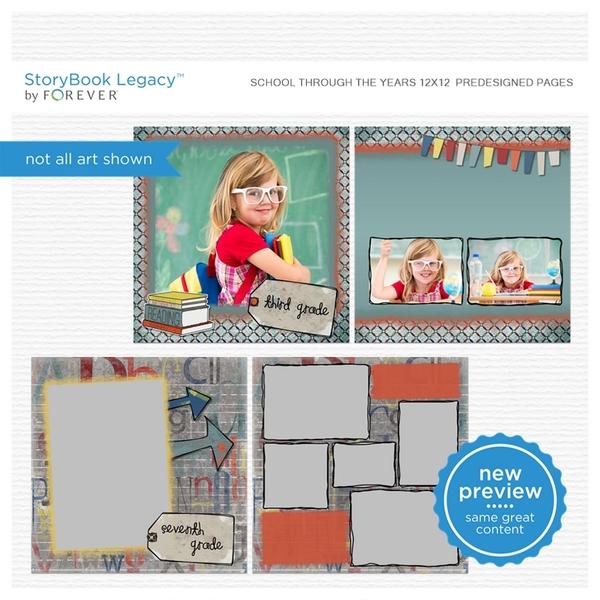 School Through The Years 12x12 Digital Predesigned Pages Digital Art - Digital Scrapbooking Kits
