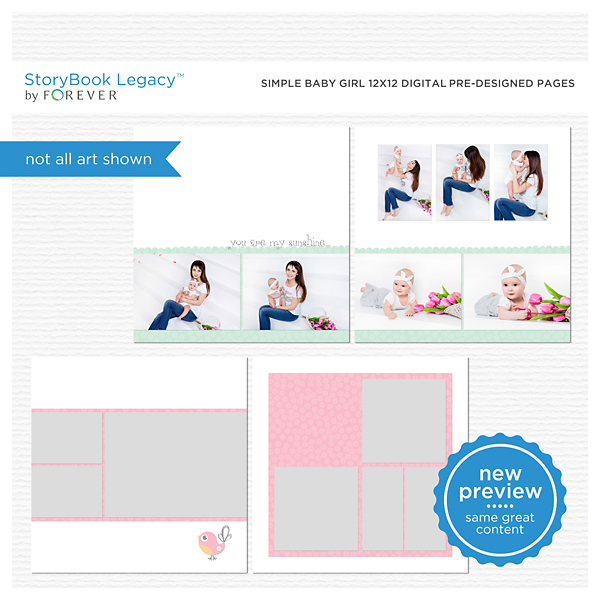 Simple Baby Girl 12x12 Digital Predesigned Pages Digital Art - Digital Scrapbooking Kits