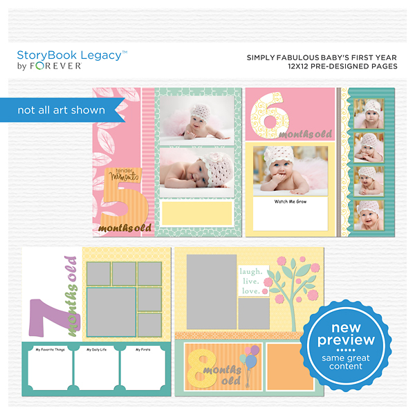 Simply Fabulous Baby's First Year 12x12 Predesigned Pages Digital Art - Digital Scrapbooking Kits