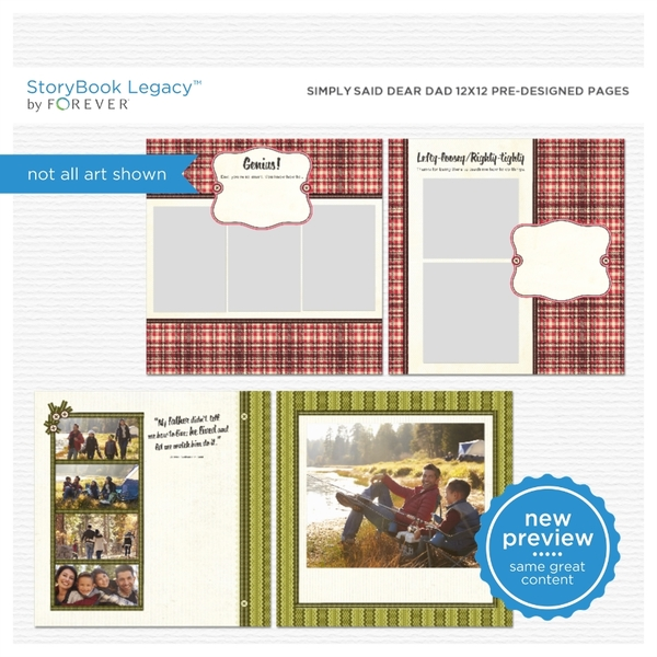 Simply Said Dear Dad 12x12 Predesigned Pages Digital Art - Digital Scrapbooking Kits