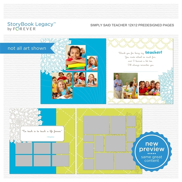 Simply Said Teacher 12x12 Predesigned Pages Digital Art - Digital Scrapbooking Kits