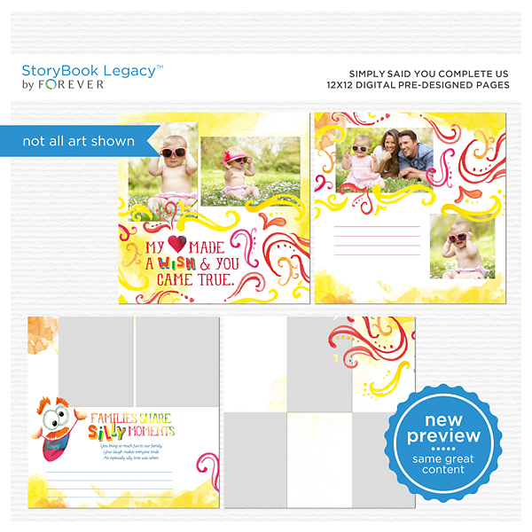 Simply Said You Complete Us 12x12 Digital Predesigned Pages Digital Art - Digital Scrapbooking Kits