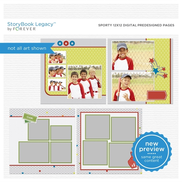 Sporty 12x12 Digital Predesigned Pages Digital Art - Digital Scrapbooking Kits