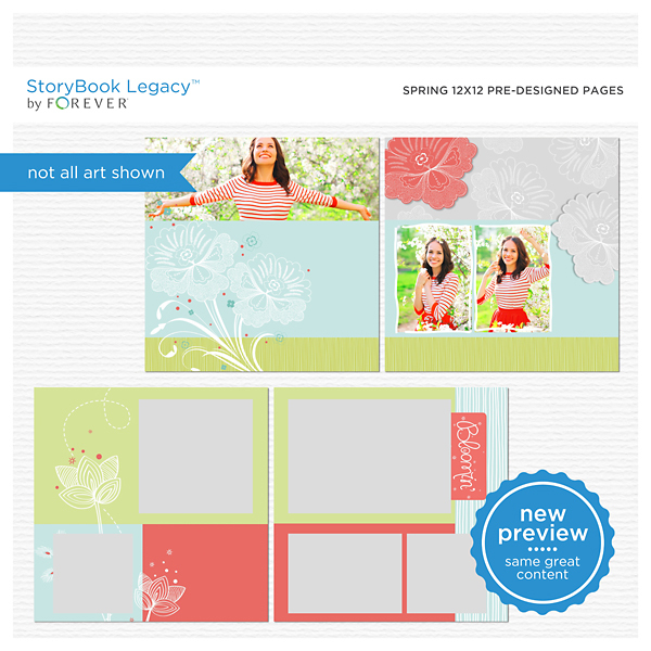 Spring 12x12 Predesigned Pages Digital Art - Digital Scrapbooking Kits
