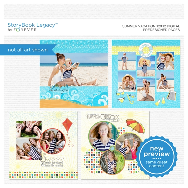 Summer Vacation 12x12 Digital Predesigned Pages Digital Art - Digital Scrapbooking Kits