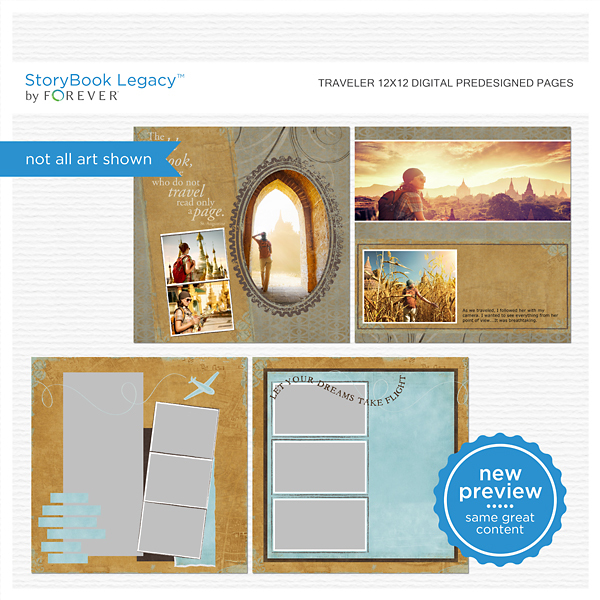 Traveler 12x12 Digital Predesigned Pages Digital Art - Digital Scrapbooking Kits