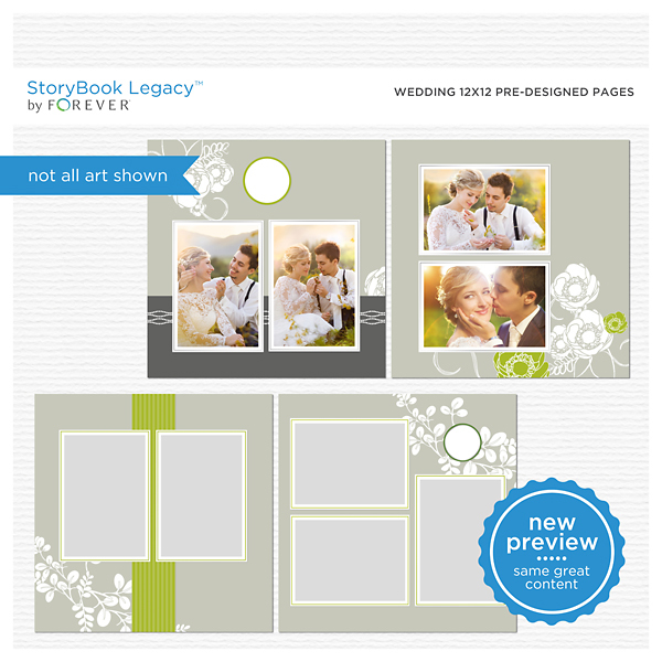 Wedding 12x12 Predesigned Pages Digital Art - Digital Scrapbooking Kits