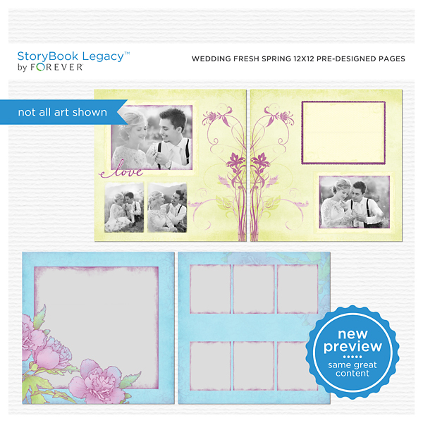 Wedding Fresh Spring 12x12 Predesigned Pages Digital Art - Digital Scrapbooking Kits