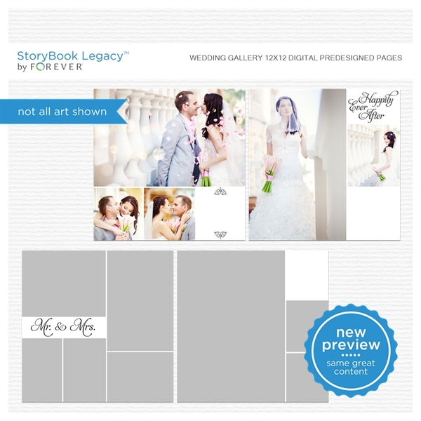 Wedding Gallery 12x12 Digital Predesigned Pages Digital Art - Digital Scrapbooking Kits
