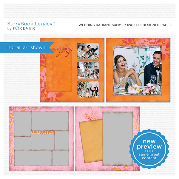 Wedding Radiant Summer 12x12 Predesigned Pages Digital Art - Digital Scrapbooking Kits