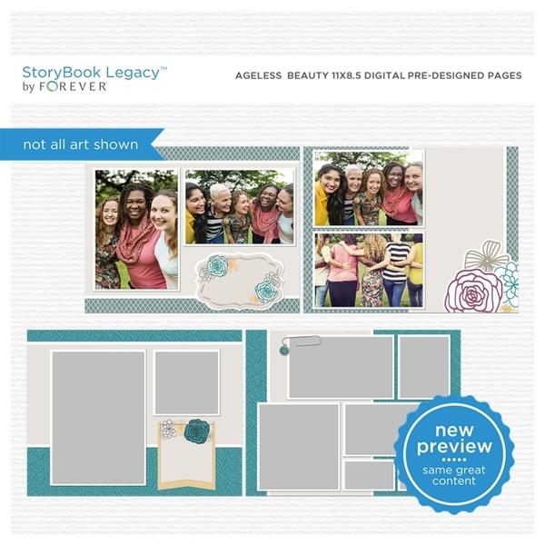 Ageless Beauty 11x8.5 Digital Predesigned Pages Digital Art - Digital Scrapbooking Kits