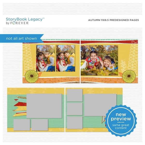Autumn 11x8.5 Predesigned Pages Digital Art - Digital Scrapbooking Kits