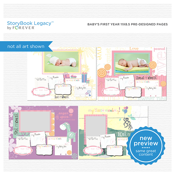 Baby's First Year 11x8.5 Predesigned Pages Digital Art - Digital Scrapbooking Kits