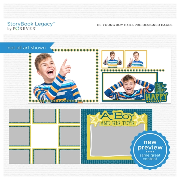 Be Young Boy 11x8.5 Predesigned Pages Digital Art - Digital Scrapbooking Kits