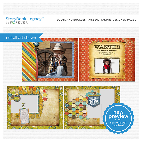 Boots And Buckles 11x8.5 Digital Predesigned Pages Digital Art - Digital Scrapbooking Kits