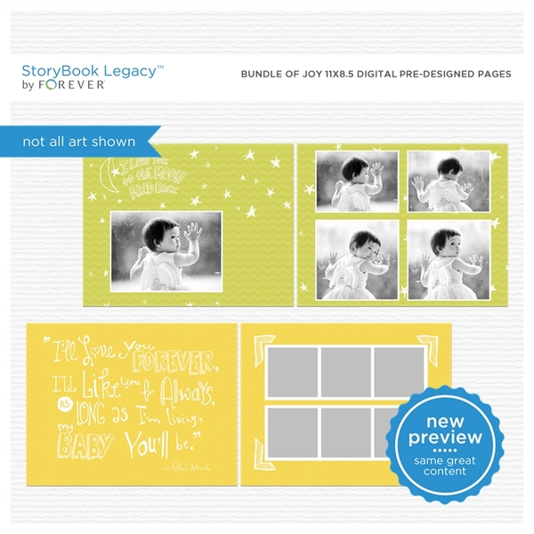 Bundle Of Joy 11x8.5 Digital Predesigned Pages Digital Art - Digital Scrapbooking Kits